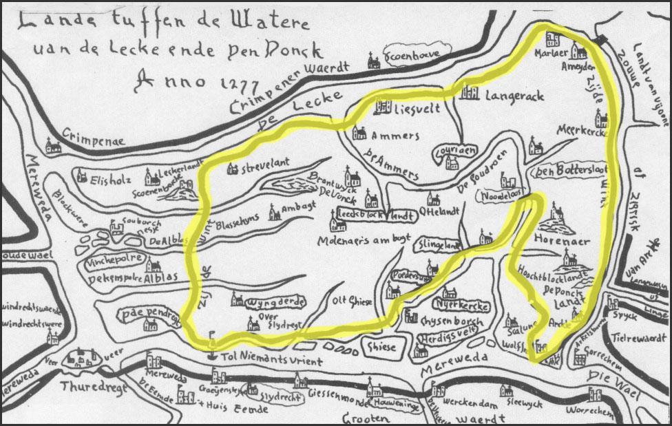 kaartje met dijken anno 1277