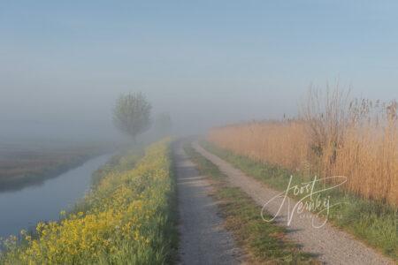 Onverhard pad in optrekkende mist