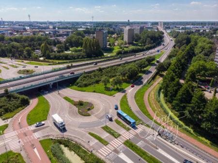 Luchtfoto kruising Burg. Keijzerweg en viaduct N3