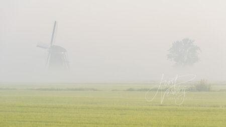 Achtkante molen in mistig polderlandschap