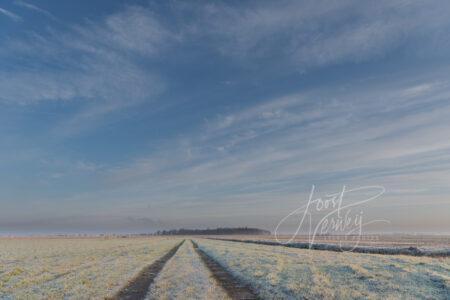 Wijde blik over bevroren polderlandschap